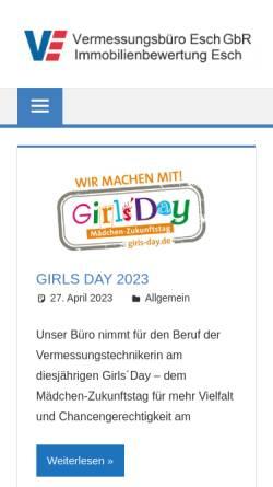 Vorschau der mobilen Webseite oebvi-esch.de, Vermessungsbüro Esch