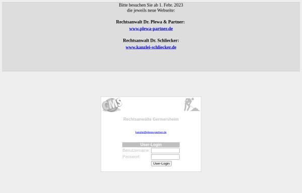 Vorschau von plewa-schliecker.de, Rechtsanwälte Dr. Dietrich Plewa und Dr. Christian Schliecker