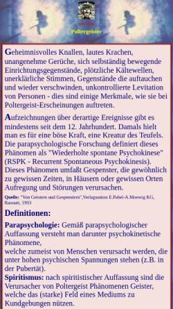Vorschau der mobilen Webseite www.paranormal.de, Wenn Geister sich bemerkbar machen...
