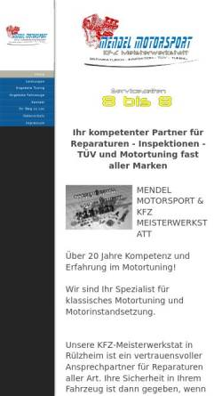 Vorschau der mobilen Webseite www.mendel-motorsport.de, Mendel Motorsport