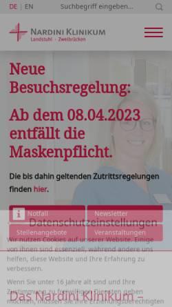 Vorschau der mobilen Webseite www.nardiniklinikum.de, Nardini Klinikum GmbH - St. Johannis-Krankenhaus Landstuhl
