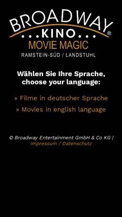 Vorschau der mobilen Webseite www.broadwaykino.de, Broadwaykino - Ramstein-Süd/Landstuhl