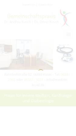 Vorschau der mobilen Webseite www.medizin-kusel.de, Gemeinschaftspraxis Dres. A. & O. Kusch, O. Braun - Kusel