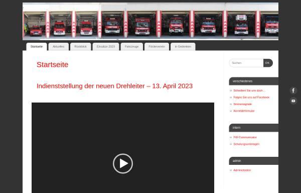 Vorschau von www.feuerwehr-bingen.de, Freiwillige Feuerwehr Bingen Dromersheim