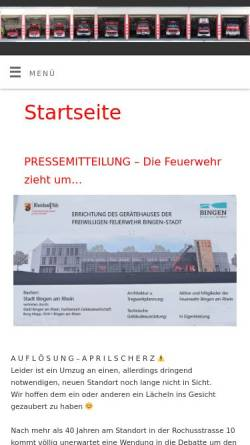 Vorschau der mobilen Webseite www.feuerwehr-bingen.de, Freiwillige Feuerwehr Bingen Dromersheim