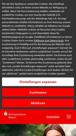Vorschau der mobilen Webseite www.kskmayen.de, Kreissparkasse Mayen