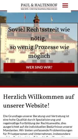 Vorschau der mobilen Webseite www.paul-haltenhof.de, Paul & Haltenhof Rechts- und Fachanwaltskanzlei
