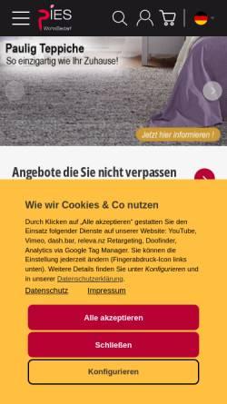 Vorschau der mobilen Webseite www.wohnbedarf-pies.de, Wohnbedarf Pies