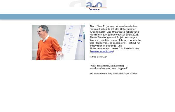 Vorschau von www.gettmann.de, Arbeitsmarkt- und Organisationsberatung Alfred Gettmann