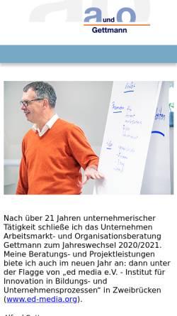 Vorschau der mobilen Webseite www.gettmann.de, Arbeitsmarkt- und Organisationsberatung Alfred Gettmann