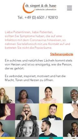 Vorschau der mobilen Webseite www.zahnarzt-konz.de, Zahnärztliche Gemeinschaftspraxis Dr. Siegert & Dr. Hase