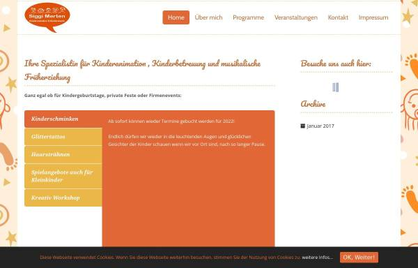 Vorschau von siggis-kinderevents.de, Kinderanimation & Kinderevents - Sigrid Merten, Erzieherin