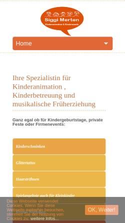 Vorschau der mobilen Webseite siggis-kinderevents.de, Kinderanimation & Kinderevents - Sigrid Merten, Erzieherin