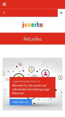 Vorschau der mobilen Webseite www.junetko.de, Jugendnetzwerk Konz e.V. - Haus der Jugend