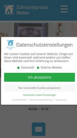 Vorschau der mobilen Webseite www.zahnarzt-waldrach.de, Zahnarztpraxis Dr. Dr. Arno Weber und Dipl.-Psych. Ulrike Weber