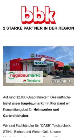 Vorschau der mobilen Webseite www.bbk-hagebaucentrum.de, bbk Baubedarf Konz GmbH & Co. KG