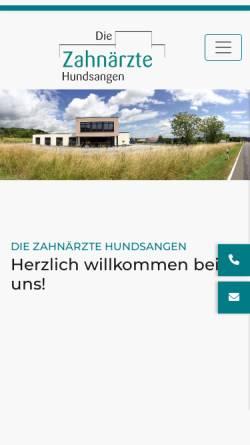 Vorschau der mobilen Webseite www.zahnaerzte-hundsangen.de, Praxis für Zahnmedizin Dr. Joachim Schmidt | Dr. Susanne Friedrich | Dr. Johannes Schmidt