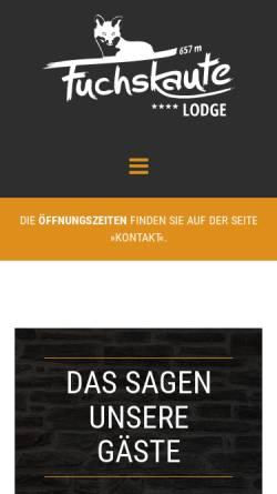Vorschau der mobilen Webseite fuchskaute-lodge.de, Fuchskaute Lodge GmbH