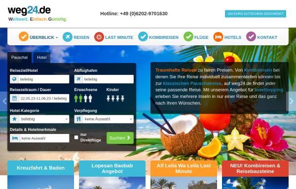 Vorschau von www.weg24.de, Weg24.de online Reisebüro