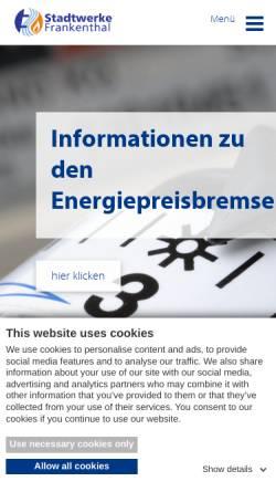 Vorschau der mobilen Webseite www.stw-frankenthal.de, Stadtwerke Frankenthal GmbH