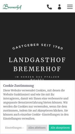 Vorschau der mobilen Webseite www.bremerhof-kl.de, Hotel-Restaurant Bremerhof