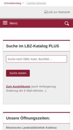 Vorschau der mobilen Webseite lbz.rlp.de, Landesbibliothekszentrum Rheinland-Pfalz