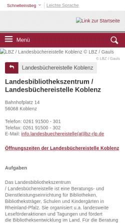 Vorschau der mobilen Webseite lbz.rlp.de, Landesbibliothekszentrum / Landesbüchereistelle Rheinland-Pfalz, Koblenz