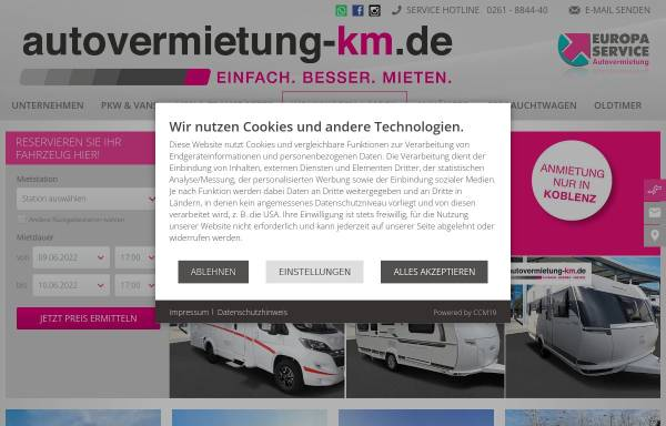 Vorschau von www.autovermietung-km.de, KM Vertriebs GmbH