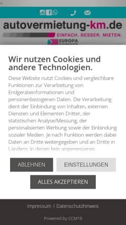 Vorschau der mobilen Webseite www.autovermietung-km.de, KM Vertriebs GmbH