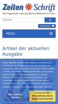 Vorschau der mobilen Webseite www.zeitenschrift.com, Zeitenschrift Verlag