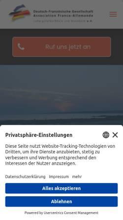 Vorschau der mobilen Webseite www.dfg-lu-ma.de, Deutsch-Französische Gesellschaft Ludwigshafen am Rhein/Mannheim e.V.