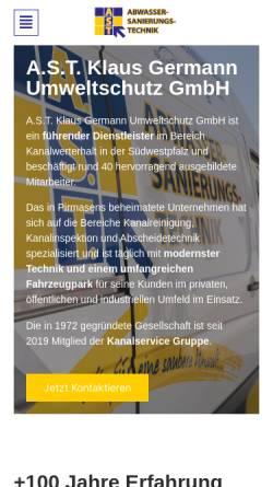 Vorschau der mobilen Webseite www.ast-info.com, A.S.T. Klaus Germann Umweltschutz GmbH