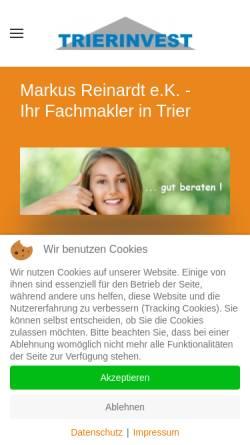 Vorschau der mobilen Webseite www.trierinvest-immobilien.de, Trierinvest Immobilien - Markus Reinardt e.K.