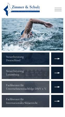 Vorschau der mobilen Webseite www.zimmer-und-schulz.de, Zimmer und Schulz Treuhand mbH