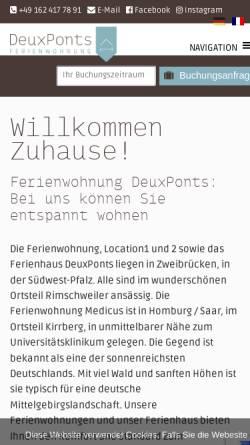 Vorschau der mobilen Webseite deuxponts-ferienwohnung.de, Ferienwohnung DeuxPonts