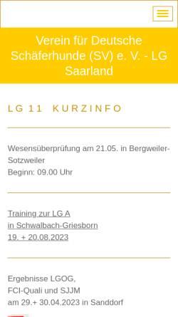 Vorschau der mobilen Webseite www.sv-lg-saarland.de, SV Verein für Deutsche Schäferhunde e.V. LG Saarland