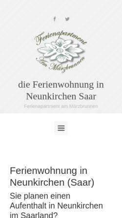 Vorschau der mobilen Webseite www.ferienwohnung-wiebelskirchen.de, Ferienapartment Am Märzbrunnen