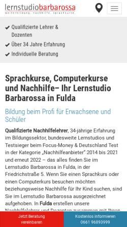 Vorschau der mobilen Webseite www.lernstudio-barbarossa.de, Lernstudio Know How