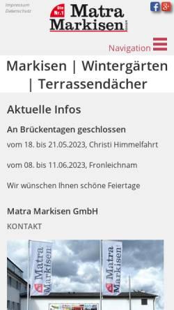 Vorschau der mobilen Webseite www.matra-markisen.de, Matra-Markisen GmbH