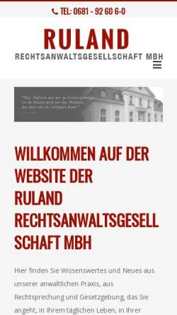 Vorschau der mobilen Webseite www.rechtsanwaelte-sb.de, Ruland Rechtsanwälte