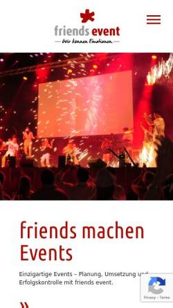 Vorschau der mobilen Webseite www.friends-event.de, Friends* Gesellschaft für Events, Marketing & Kommunikation mbH
