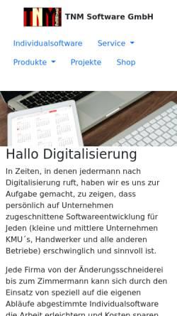 Vorschau der mobilen Webseite www.tnmsoftware.de, TNM Software GmbH