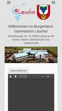Vorschau der mobilen Webseite burgenland-gymnasium.de, Burgenland-Gymnasium Laucha