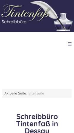 Vorschau der mobilen Webseite www.tintenfass-dessau.de, Schreibbüro Tintenfaß