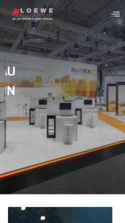 Vorschau der mobilen Webseite www.loewe-messebau.de, Loewe Messebau Deutschland AG & Co.KG