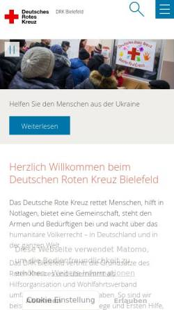 Vorschau der mobilen Webseite www.drk-bielefeld.de, Deutsches Rotes Kreuz (DRK), Kreisverband Bielefeld e.V.