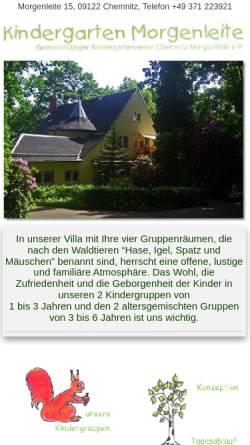 Vorschau der mobilen Webseite www.kiga-morgenleite.de, Kindergarten Morgenleite