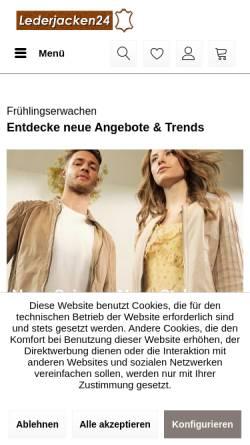 Vorschau der mobilen Webseite shop.lederjacken24.de, Lederjacken24