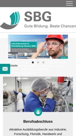 Vorschau der mobilen Webseite www.sbg-dresden.de, Sächsische Bildungsgesellschaft für Umweltschutz und Chemieberufe Dresden mbH