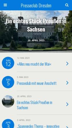 Vorschau der mobilen Webseite www.presseclub-dresden.de, Presseclub Dresden e.V.